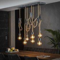 Suspension 7 lampes avec cordes réglables et métal