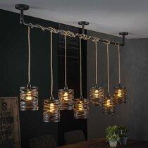 Supsension 7 lampes 57x15x150 cm en jute et métal gris foncé - ZIGGY