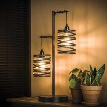 Lampe de table 2 lampes 37x23x70 cm en métal gris foncé - ZIGGY