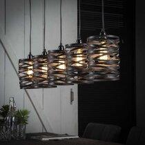 Suspension 5 lampes 117x16x150 cm en métal gris foncé - ZIGGY