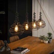 Suspension 4 lampes forme goutte 137x25x150 cm en métal noir