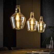 Suspension 3 lampes 112x25x150 cm en verre et métal argent vieilli