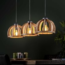 Suspension 3 lampes 120x30x150 cm en manguier naturel