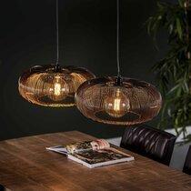 Suspension 2 lampes 102x43x150 cm en métal noir vieilli et doré