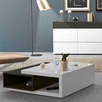 Table basse 100x95x38 cm blanc et gris foncé - ALBYA