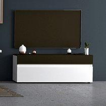 Meuble TV 2 portes et 1 tiroir avec LED blanc et gris foncé - ALBYA