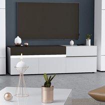 Meuble TV 3 portes et 1 tiroir avec LED blanc et gris foncé - ALBYA