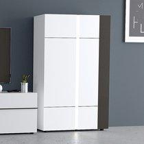 Buffet haut 2 portes H165 cm avec LED blanc et gris foncé - ALBYA