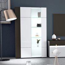Vitrine 2 portes avec LED blanc et gris foncé - ALBYA