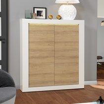 Buffet haut 2 portes 120x45x145 cm blanc brillant et chêne - FLOYD