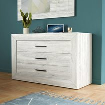 Commode 3 tiroirs 130x50x80 cm décor chêne grisé - GREGORIA