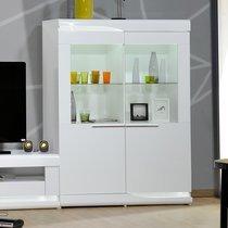 Vitrine 2 portes 120x46x160 cm avec LED blanc brillant - GABBO