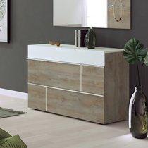 Commode 3 tiroirs 120x50x85 cm blanc et chêne - SPIGA