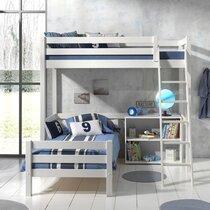 Lit surélevé et lit bas 90x200 cm avec bibliothèque blanc - PINO