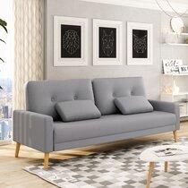Canapé 3 places convertible en tissu gris clair et pieds bois - HUELVA
