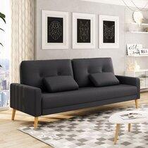 Canapé 3 places convertible en tissu gris foncé et pieds bois - HUELVA
