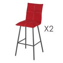 Lot de 2 chaises de bar en tissu rouge et pieds gris mat - MORTEN