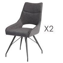 Lot de 2 chaises repas en tissu anthracite et pieds gris mat - MASKA