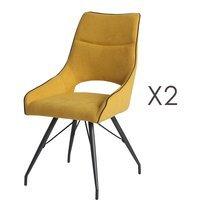 Lot de 2 chaises repas en tissu jaune et pieds gris mat - MASKA