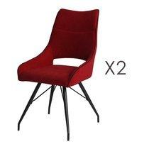 Lot de 2 chaises repas en tissu rouge et pieds gris mat - MASKA
