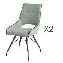 Lot de 2 chaises repas en tissu vert d'eau et pieds gris mat - MASKA