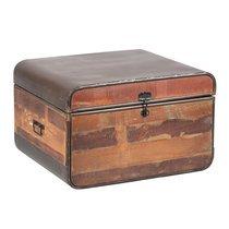 Coffre de rangement 80x70x50 cm en bois recyclé et métal - HUNTER