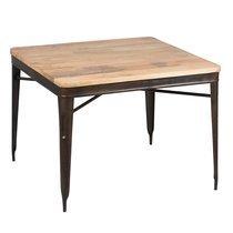 Table à manger carrée 100 cm en bois recyclé et métal