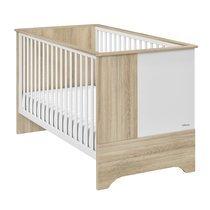 Lit bébé évolutif 70x140 cm chêne et blanc - BYRON