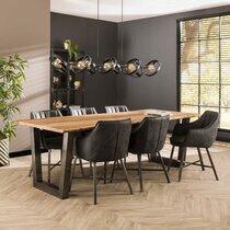 Table 240 cm ép 38 mm en acacia massif et inox brossé noir - TRUNK