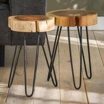 Lot de 2 tables d'appoint 32x32x45 cm en acacia massif naturel - STACY