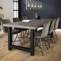 Table à manger 200 cm en acacia massif gris et métal noir