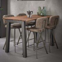 Table de bar 147 cm en acacia massif et métal - GRANY