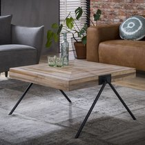 Table basse carrée 80 cm en teck reccylé et métal - TREKA