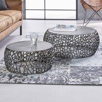 Lot de 2 tables basses rondes 75 et 55 cm en métal noir