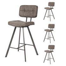 Lot de 4 chaises de bar vintage 43x55x98 cm en PU marron et métal