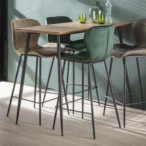 Table de bar 120x60x93 cm décor chêne et métal noir