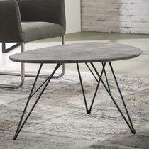 Table basse 90x60x42 cm décor béton et piétement en métal
