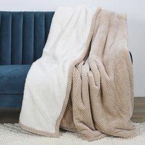 Plaid 180x220 cm en polyester beige