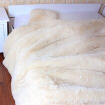 Plaid 220x240 cm imitation fourrure en polyester beige
