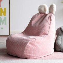 Pouf pour enfant 40x62x70 cm en tissu rose
