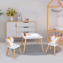 Ensemble table et chaises enfant décor licorne en bois