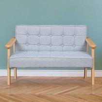 Canapé 2 places 70x40,5x41 cm en tissu taupe clair et bois naturel