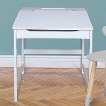 Bureau pupitre pour enfant 45x47,5x52 cm en bois blanc