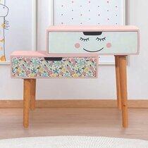 Chevet 2 tiroirs pour enfant 54,5x21,5x51 cm rose et blanc