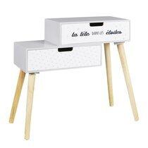 Chevet 2 tiroirs pour enfant 54,5x21,5x51 cm blanc