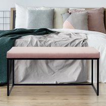 Banc 100x38x48 cm en velours rose clair et métal