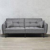 Canapé convertible 197x90x84 cm en tissu gris