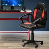 Fauteuil de bureau 57x57x91-103 cm en PU noir et rouge