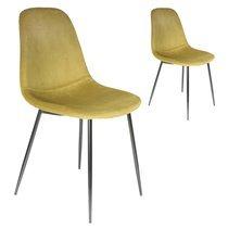 Lot de 2 chaises repas 54x85x44 cm en velours jaune - ZADDY