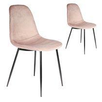 Lot de 2 chaises repas 54x85x44 cm en velours rose clair - ZADDY